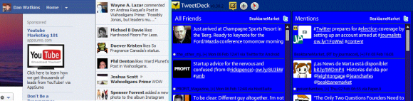 Facebook ticker and Tweetdeck