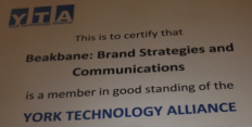 York Technology Association - certificate